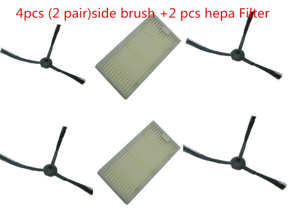 6pcs/lot side BrushX+hepa Filter  for chuwi ilife V5 (CW310) V5 PRO V3 V3+ vacuum cleaner replacement