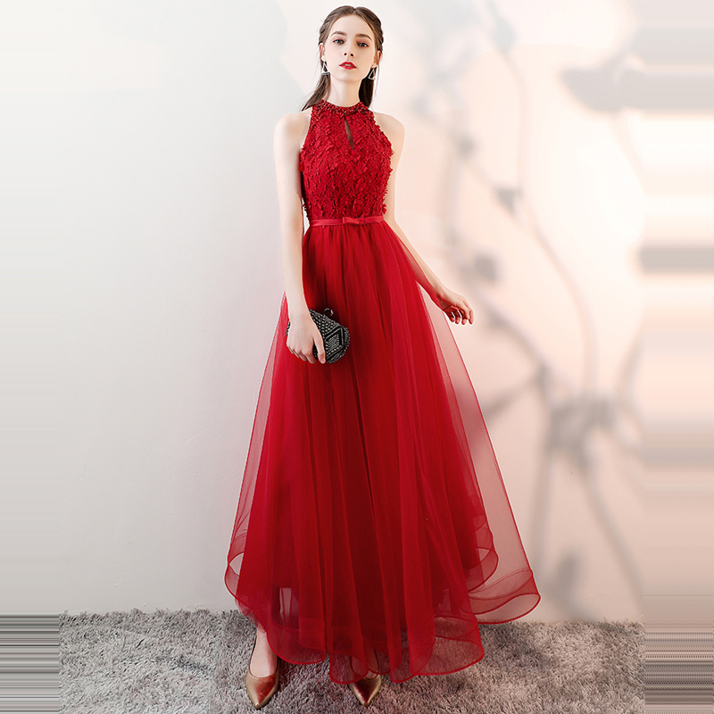 Beauty Emily   Prom   Gowns Red flowers Lace Halter Neck Sleeveless A-line Floor Length Custom Plus size Long Party   Prom     Dresses