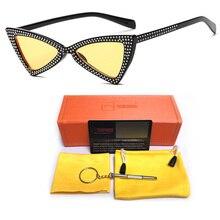 Cute Sexy Cat Eye Ladies Sunglasses Womens Plastic Frame 2019 Fashion Yellow Black Blue Lens Sun Glasses For Female UV400 Shades