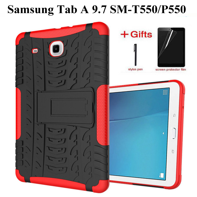Hybrid Stand Hard Silicone Rubber Armor <font><b>Case</b></font> For <font><b>Samsung</b></font> <font><b>Galaxy</b></font> <font><b>Tab</b></font> A 9.7 T555 <font><b>T550</b></font> <font><b>SM</b></font>-T555 <font><b>SM</b></font>-P550 Anti-knock <font><b>Cover</b></font>+film+pen image