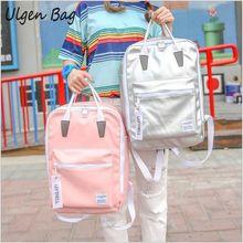 Hot Sale Glossy backpacks Women Silver Hologram Laser Backpack for teenage girls PU leather Holographic Backpack Multicolor