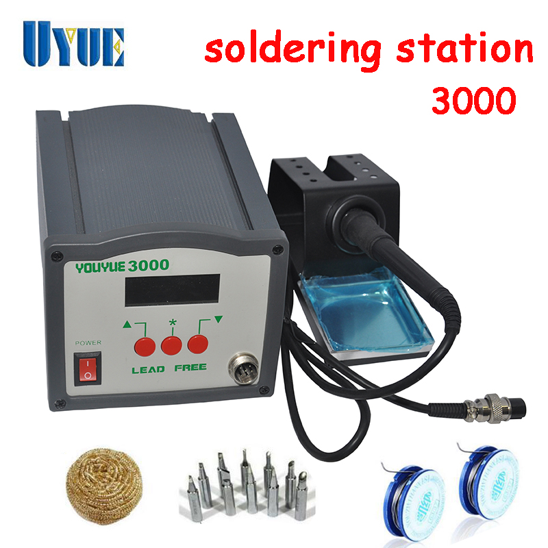 UYUE 220V 120W  Air nozzle  Solder wire iron tip Clean steel ball  High Frequency Eddy Soldering Station 3000  цены