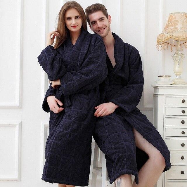 Бесплатная доставка плюс размер 100% хлопок халаты вытирают любителей халат женские bathoses