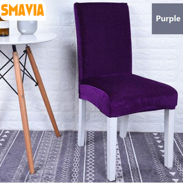 Dining Chair Covers Velvet Baby Table And Chairs Smavia Hot Sale Cover Spandex Polyester Short High Back Elastic Universal Gold Thick Fabric Seat
