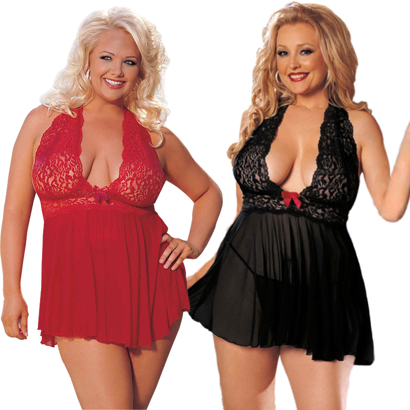 PLUS SIZE S-6XL Womens <font><b>Sexy</b></font> <font><b>Lingerie</b></font> <font><b>Corset</b></font> With G-string 2 Piece Set Dress Sleepwear Babydoll Underwear Robe image