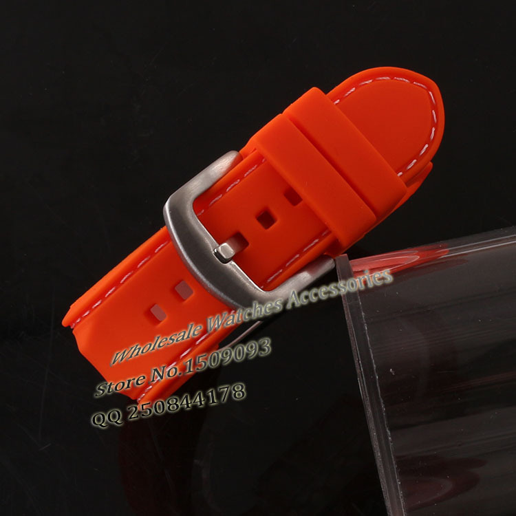 Rubber Watch band strap 22mm Orange Silicone Watchbands Straps white Stitched Waterproof for Diving Watch men Fast delivery платье halens цвет синий черный