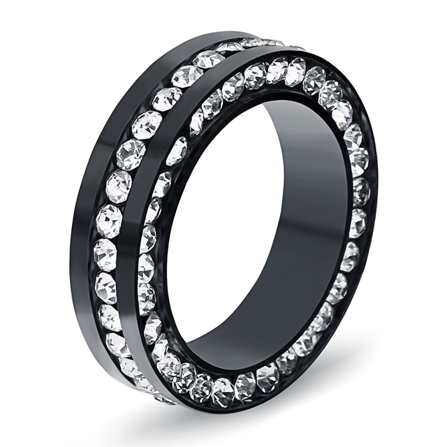 Best Selling 316l Stainless Steel Engagement Ring Fashion Women Crystal Wedding Rings