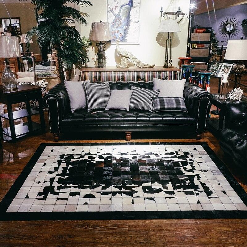 Peau de vache de luxe tapis carré cousu noir et blanc peau de vache naturelle tapis de fourrure pour salon décoration bureau tapis