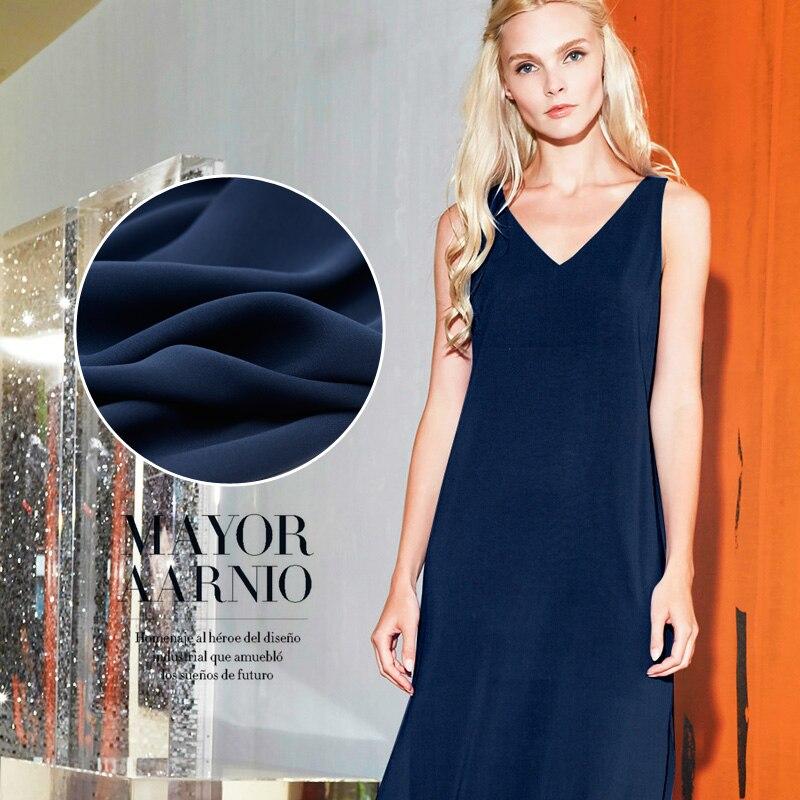 Limited Hot Sale 30M/M Purplish Blue Mulberry Silk Natural Heavy Joe Fabric For Dress Hang Down Tissu Au Meter Bright Cloth DIY
