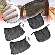 Auto Sunshade Curtain 4pcs Front+Rear Side Car Window Sun Shade Shield UV Mesh Large Cover Exterior Protection