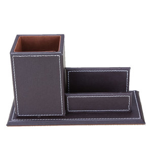 Image 5 - Ever Perfect 6Pcs/Set PU Leather Desk Set Stationery Desk Organizer Box 5 Compartments Pen Holder Mouse Pad Note Case Name Card