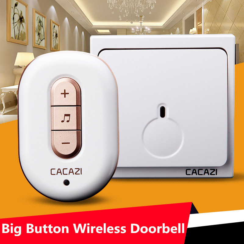 CACAZI1 waterproof large button transmitter+3 doorbell receivers AC 110-220V 280M remote control digital wireless doorbell cacazi a9 3 ac 75 250v wireless doorbell 1 waterproof button 3 receivers 52 ringtones 4 volume 300m remote electronic doorbell