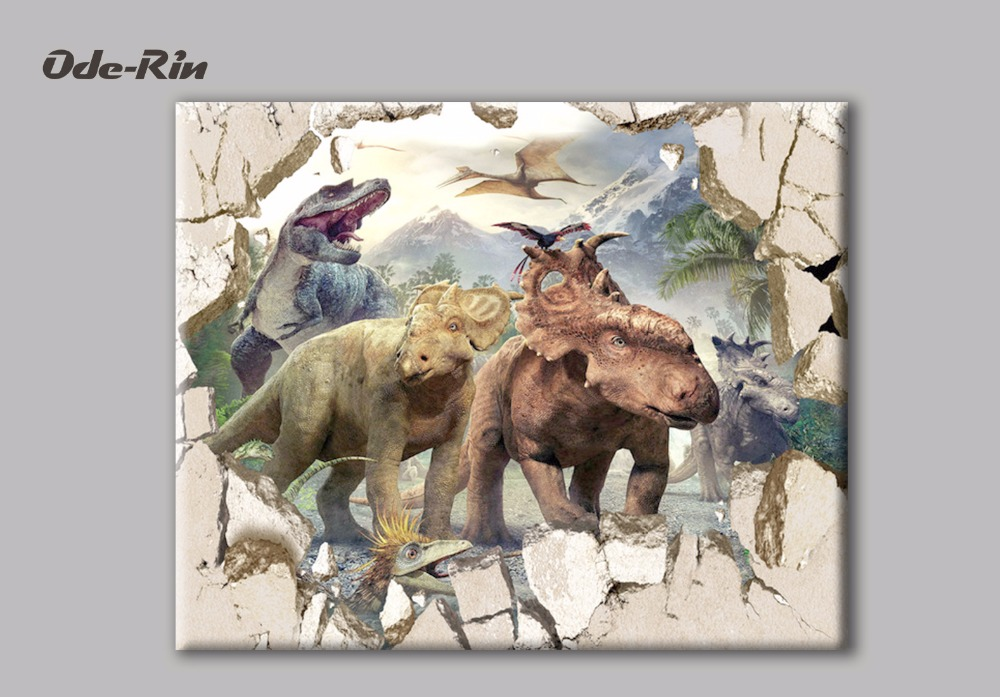 Ode-Rin original oil painting on canvas paintings Dinosaur Era no frame wall art Canvas decorative painting Printing pictures