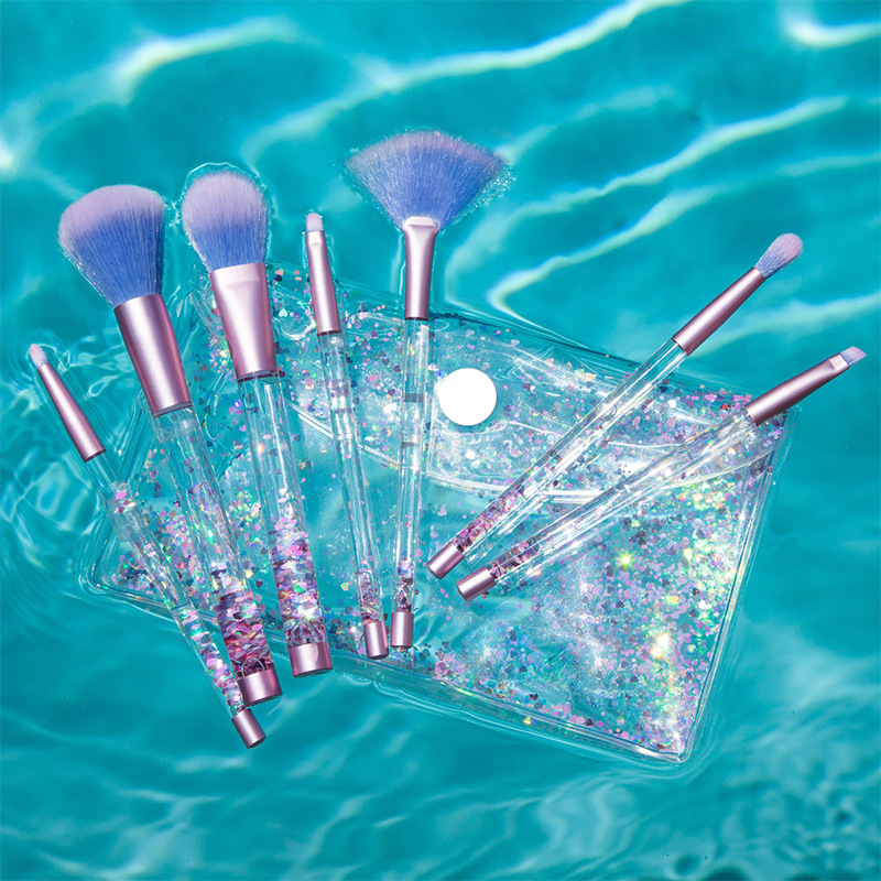 7 Pcs Liquid Crystal Handle Makeup Brush Professional Mermaid Crystal Flow Sand Makeup Brushes Tool Set With Bag 7pcs sets new europe and the united states selling liquid flash makeup brush set flow flash unicorn makeup brush fantasy mermaid