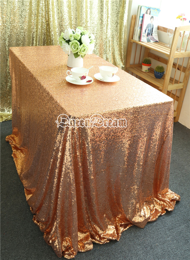 96 inch round tablecloth - 96 Inch By 96 Inch Square Rose Gold Sequin Tablecloth For Wedding Table Cake Table Christmas Decoration