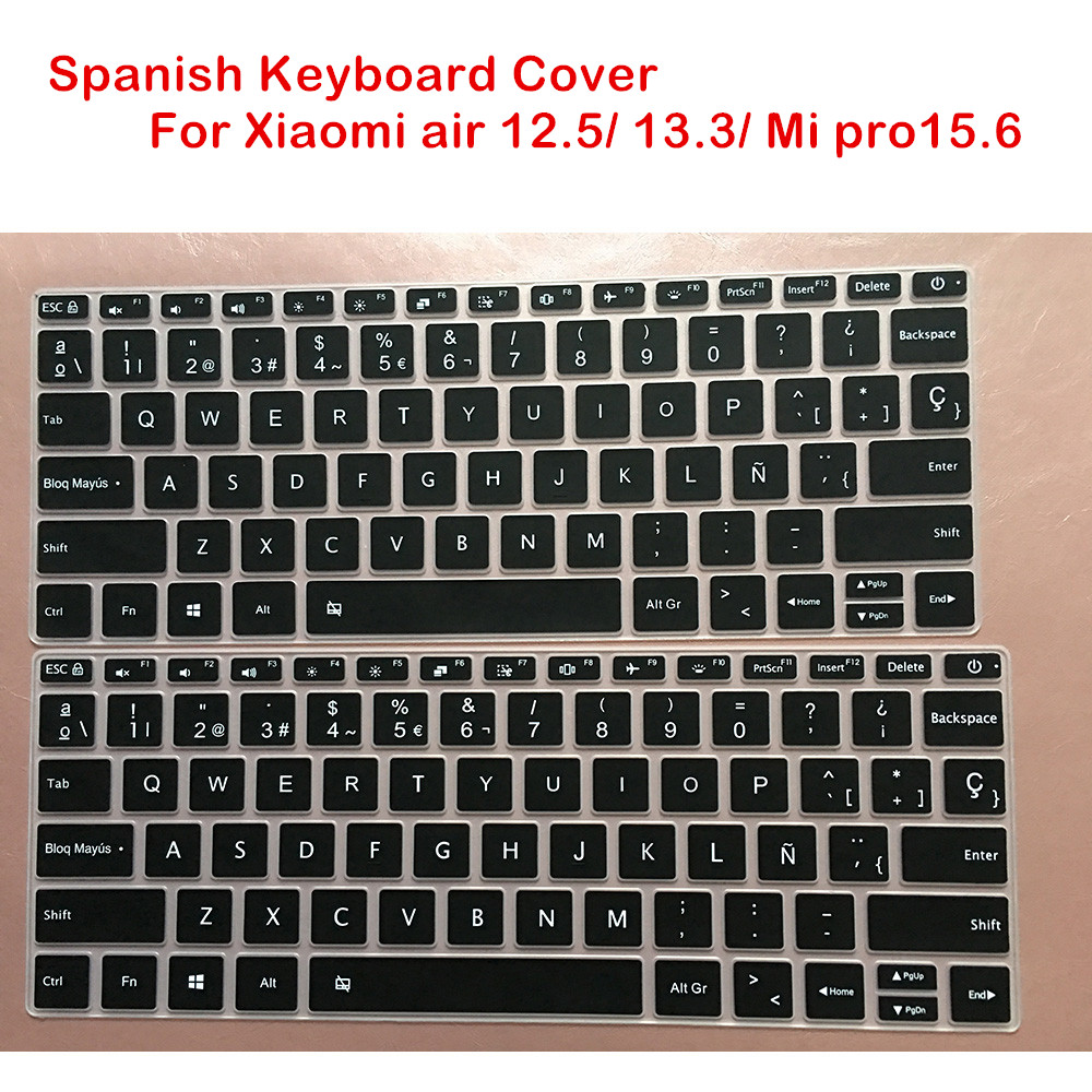 Spanish Silicone Keyboard Cover For Xiaomi Mi Air 12.5 13.3 Inch Mibook Pro 15.6 Laptop Notebook Skin Protector film 13 15
