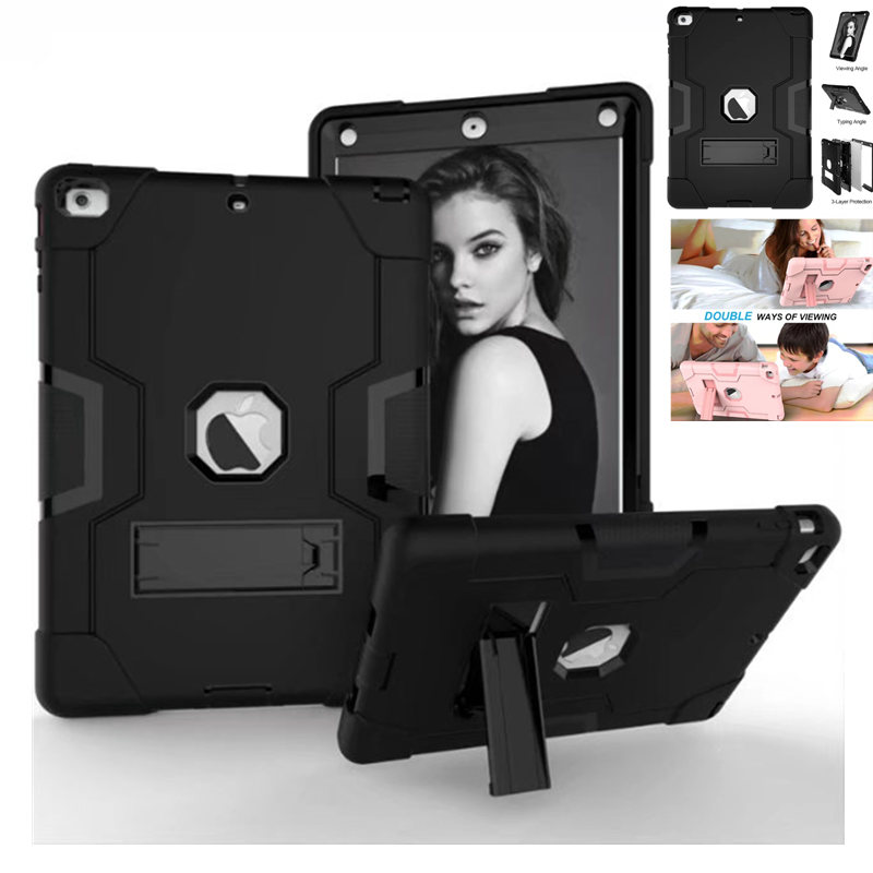 For Apple ipad Air 1 Kids Case Heavy Duty Shockproof Armor Silicon+PC Rubber Stand Back Cover For ipad Air1 A1474,A1475,A1476 case for ipad pro 12 9 case tablet cover shockproof heavy duty protect skin rubber hybrid cover for ipad pro 12 9 durable 2 in 1