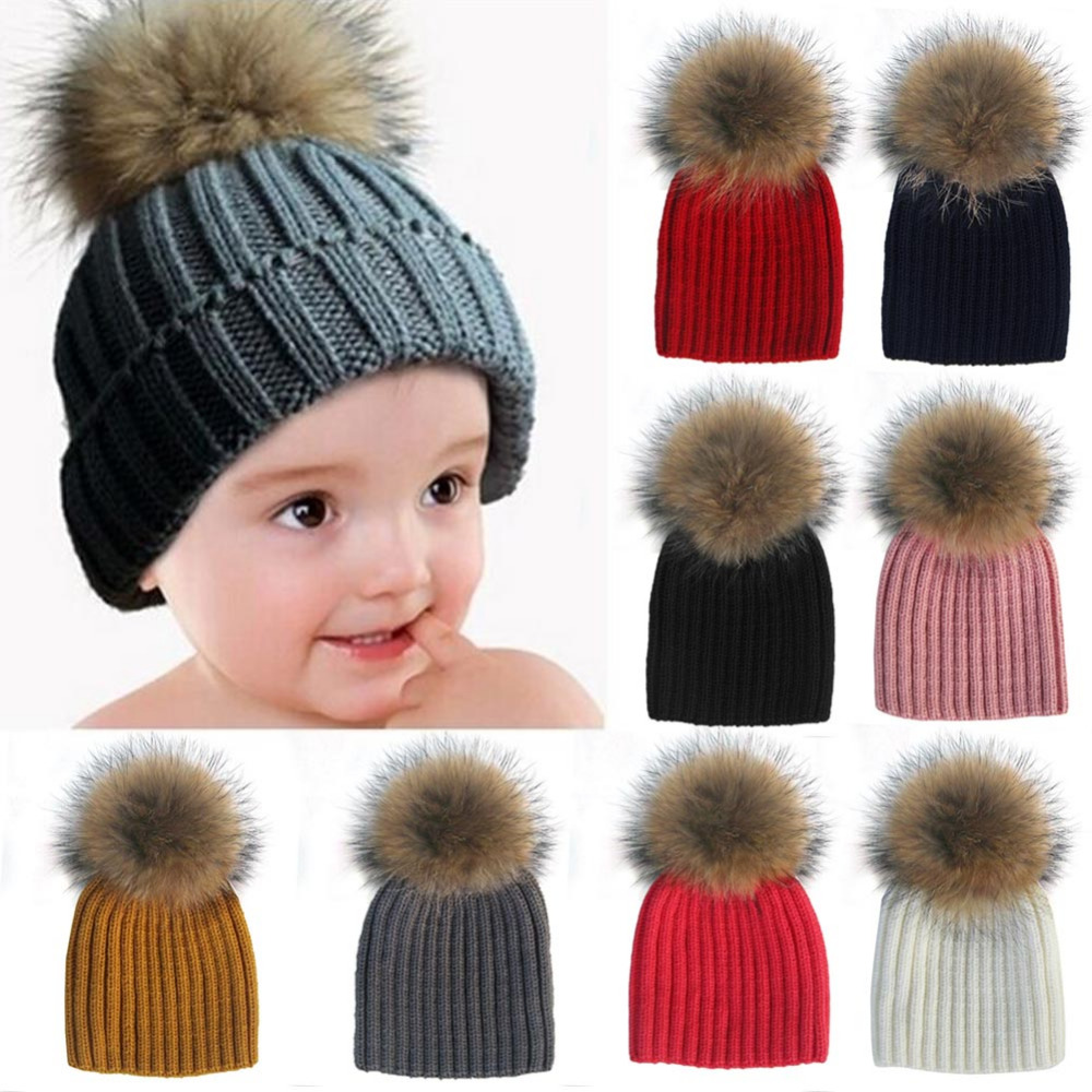 Hot 5months to 5years Baby Pom Beanie Warm Knitted Bobble Kids Fur Pompom Hat Children Real Raccoon Fur Pompon Winter Hat Cap