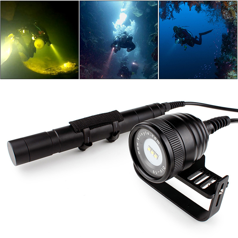 Brinyte DIV10 Waterproof LED Diving Flashlight 3000 Lumens 3x XM L2 LED Underwater 200m with 5