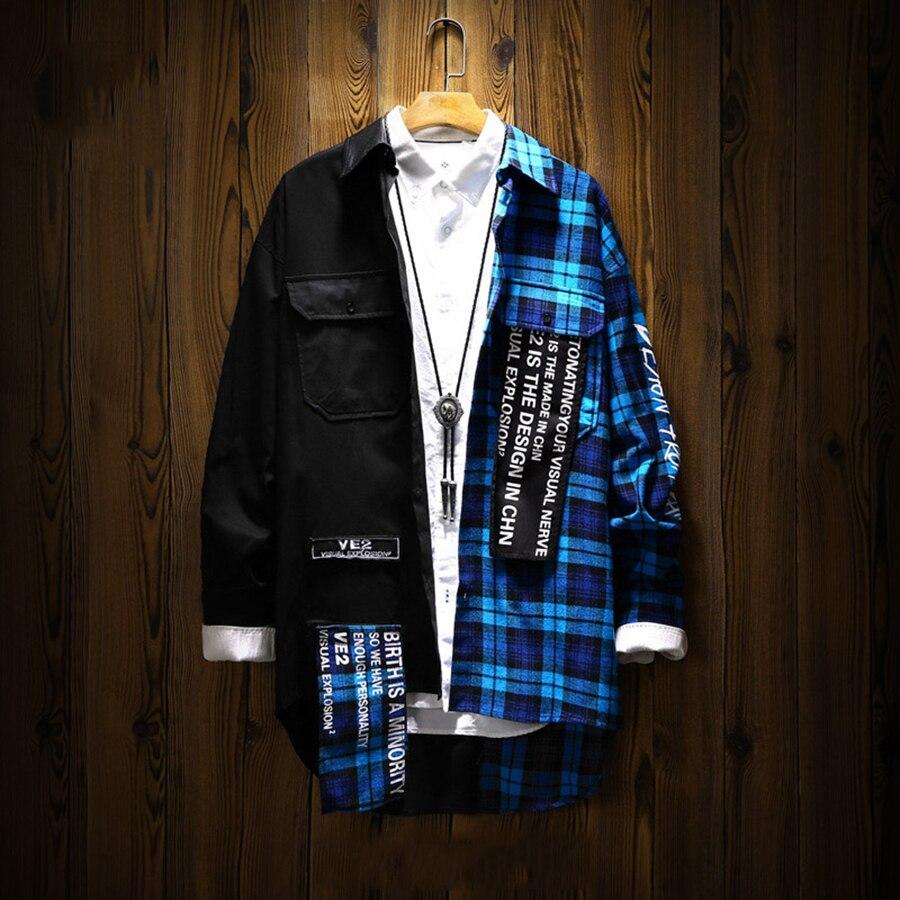 Patchwork à manches longues chemise à carreaux hommes coton Hip Hop chemises hommes vêtements 2018 Streetwear japonais coréen mode homme chemise 5na117