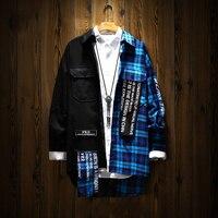 Patchwork Long Sleeve Plaid Shirt Men Cotton Hip Hop Shirts Men Clothes 2018 Japanese Streetwear Korean Fashion Man Shirt 5na117