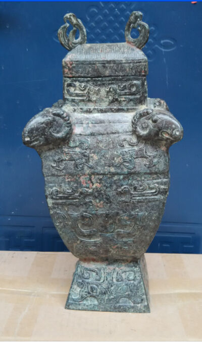 48 см */В старом Китае дворец редкие бронзовая статуя овцы зун цветок бутылки