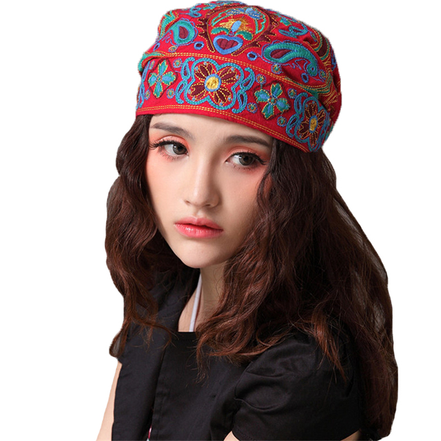 7e9dee2f80ac3 Fashion Spring Autumn Women Hat Bandanas Chinese Style Vintage Cap  Embroidery Female Hats Clothing Beanie Casual Harajuku Caps