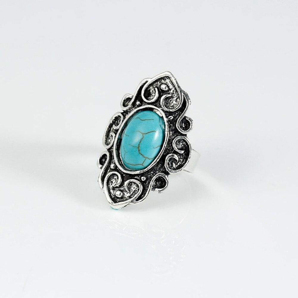 DoreenBeads Created Women Howlite gem stone Bohemia Adjustable Rings Antique Silver Blue Olivary Pattern 17.5mm(US 7), 1 PC