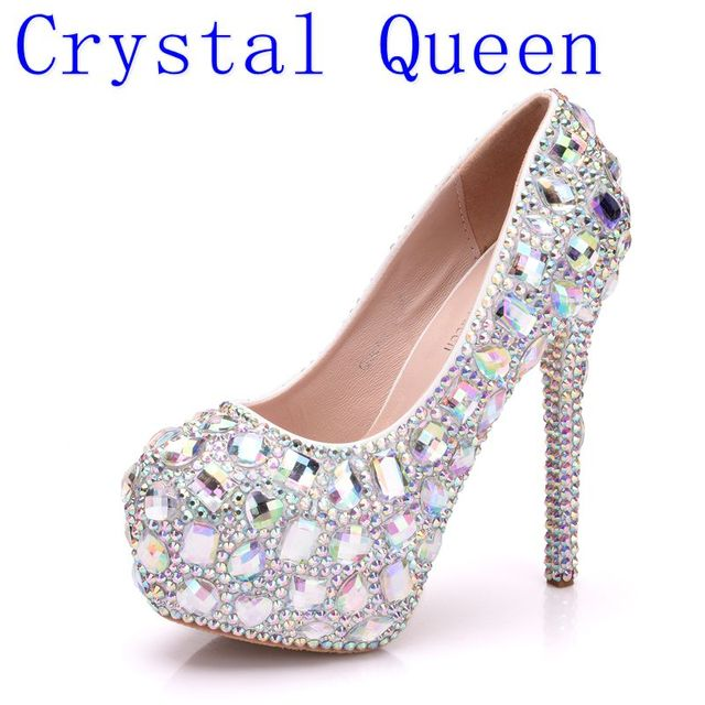 f2836aaf0b7b Crystal Queen Women Rhinestone Wedding Shoes Crystal High Heel Platform  Event Shoes Women Handmade Cinderella Shoes Big Size