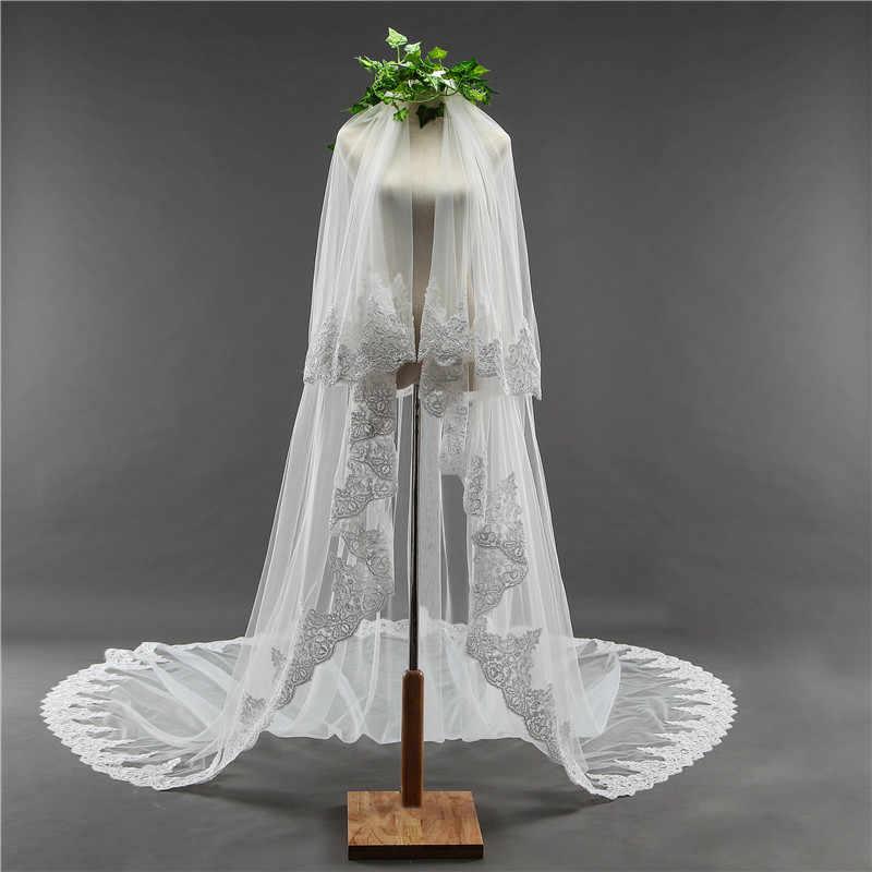 Braut Schleier Lange 3,5 M Zwei Schicht Spitze Rand Hochzeit Schleier mit Kamm für Tule Mariage Hochzeit Zubehör