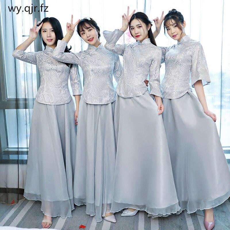 MNZ208#Chinese National Costume Improvement Cheongsam Silver Gray Bridesmaid Dresses Long Bride Wedding Toast Dress Wholesale