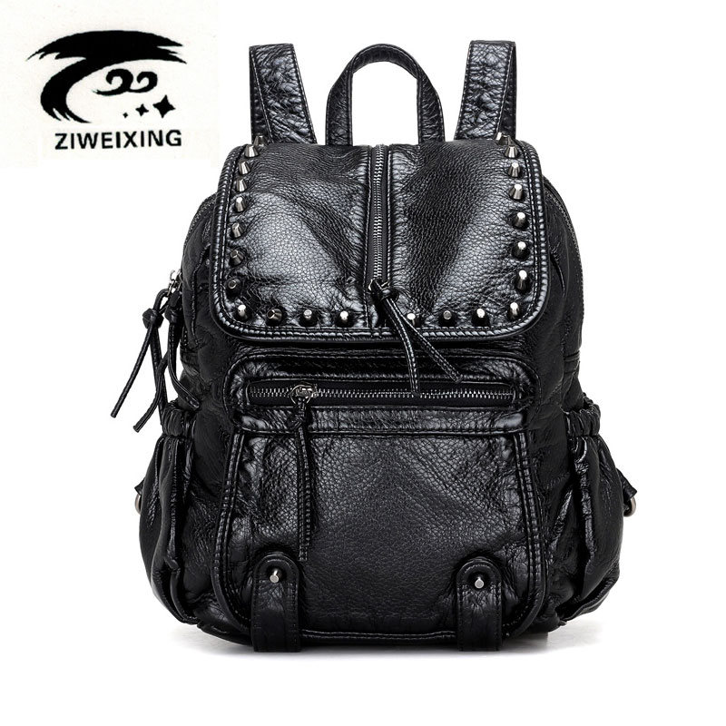 ZIWEIXING Fashion Women Leather Backpacks Rivet Schoolbags for Teenage Girls Female Bagpack Lady Small Backpack Mochila