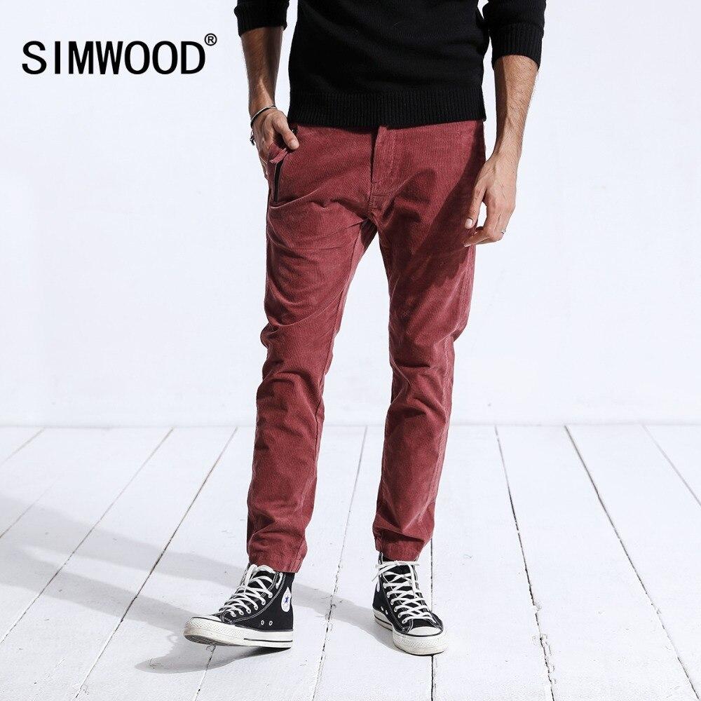 SIMWOOD 2018 зимние повседневные штаны для мужчин модные узкие вельветовые Slim Fit плюс размеры теплые брюки карандаш брендовая одежда 180484