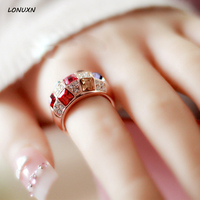2018 new rose gold Finger Rings High quality women jewelry cute girls Jewelry Lady Austrian colorful crystal ring lovers gift