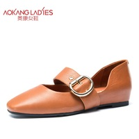 AOKANG 2017 New Arrival Women Flats Shoes Brand Women Shoes Women Genuine Leather Shoes Slip On