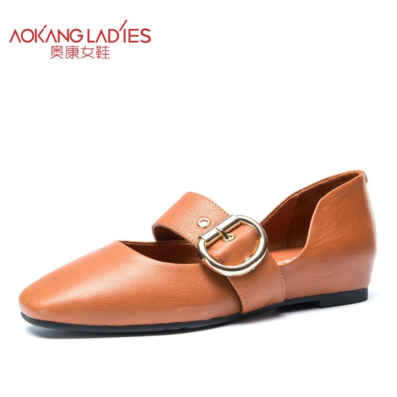 AOKANG 2017 New Arrival Women Flats shoes Brand Women shoes Women Genuine Leather shoes slip on free shipping aokang 2017 new arrival women flat genuine leather shoes red pink white women shoes breathable and soft free shipping
