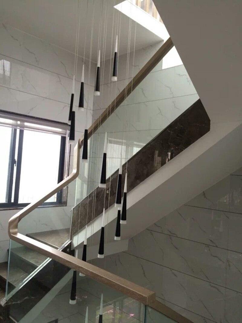 €299.89 13% de réduction|Le pendentif LED à la maison en aluminium allume  le cône de LED d\'escalier moderne accrochant les luminaires d\'hôtel de ...