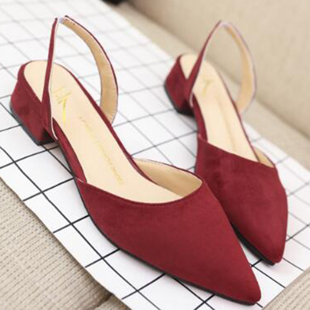 Women Sandals Pointed Toe Slingbacks Block Low Heels Fashion Shoes Suede leather Sandals woman Ladies Shoes gladiator han edition joker contracted the new sandals buckles suede pointed comfortable leisure shoes low princess with big yards shoes