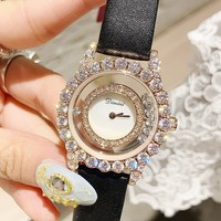 Top Luxury Rose Gold Diamond Women Watches Fashion Women Roll Drill Crystal Rhinestone Quartz Wristwatch Bracelet Ladies Watch