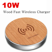 Wooden Qi Wireless Charger Pad for iPhone XS Max XR X Xiaomi mi 9 10W Smart fast Charging Samsung S10 Huawei Mate 20 pro