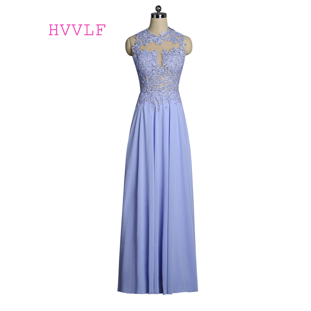 Blue 2019   Prom     Dresses   A-line High Collar Chiffon Lace Beaded Open Back Women Long   Prom   Gown Evening   Dresses   Robe De Soiree