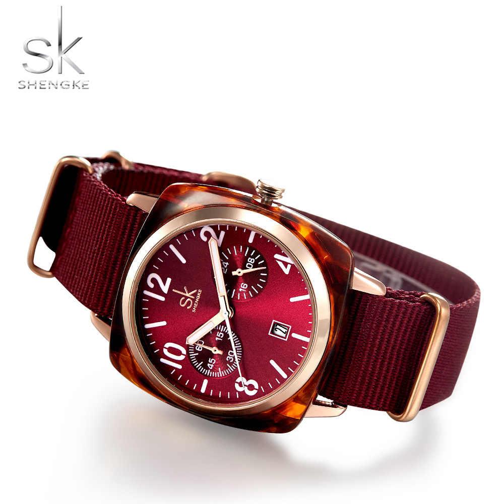 Shengke Women Watch Nylon Belt Lady Watch Imitate Shell Case Wristwatch For Women Sport Clock Relogio Feminino Zegarek Damski