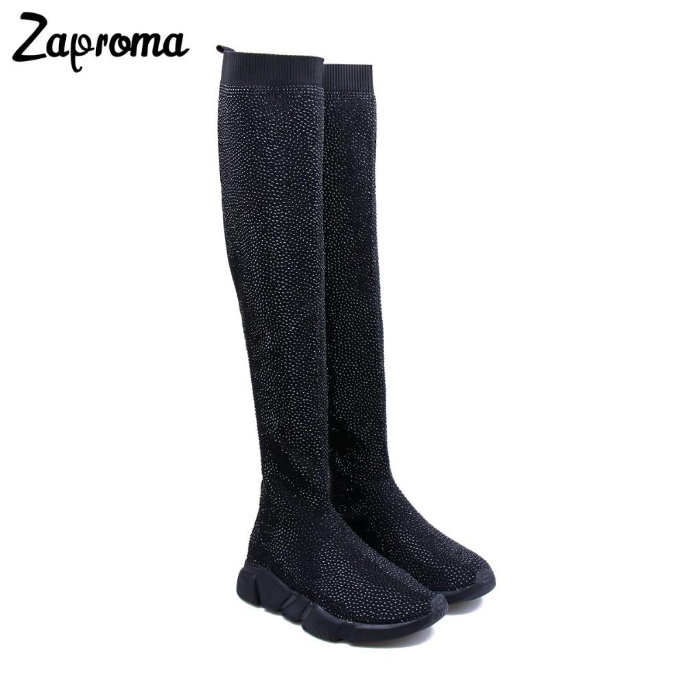 купить ZAPROMA Crystal Sock Sneaker Boots Women Thigh High Sport Flat Black Rhinestone Sneakers Woman Knee High Boot 2018 sock boots