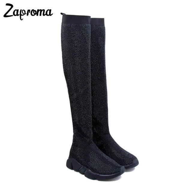 81eecb8a3ccd85 ZAPROMA Crystal Sock Sneaker Boots Women Thigh High Sport Flat Black  Rhinestone Sneakers Woman Knee High