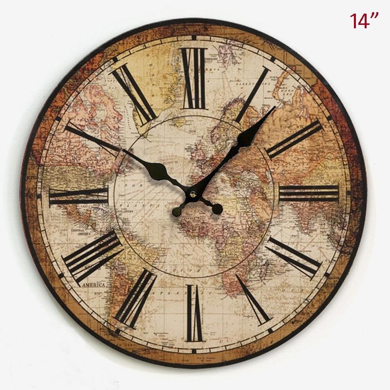 Style de pays américain Antique carte du monde Design décor à la maison 14 pouces horloge murale ronde en MDF