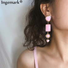Ingemark Korean Oil Painting Long Dangle Earrings Sweet Princess Pink Four Layer Geometric Circle Drop Earring Girl Jewelry Gift