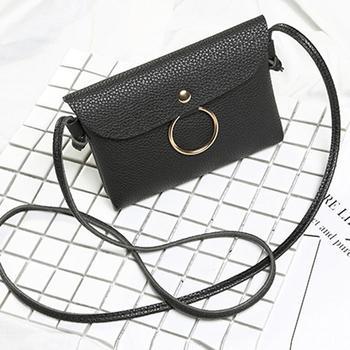 Pattern Button Black Bag Litchi Ring New Gray Casual Key Handbag Casual Shopping Women Pink Red Shoulder shoulder bag