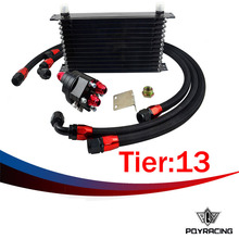 PQY RACING-  Universal 13 Row 10AN Aluminum Engine Transmission Oil Cooler Relocation Kit Oil Cooler Kit