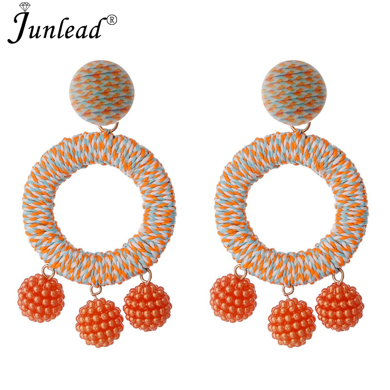 Junlead Hot New Design Behomian Charm Cotton Earring Jewelry Dangle Statement Fashion style Round Shaped Drop Earrings For Women