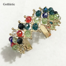 Gothletic 2017 Fashion New 25MM Wide Women Crystal Beaded Handmade Bohemia Cuff Bracelets and Bangles Jewelry Accessories